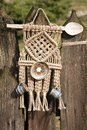 Handcrafted decor with rope spoon and pottery on beautiful background Stock Images
