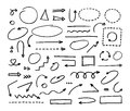 Handcrafted elements. Hand drawn vector arrows set Royalty Free Stock Photo
