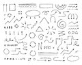 Handcrafted elements. Hand drawn vector arrows set