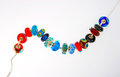 Handcrafted Glass Beads on Silver Chain Stock Photography