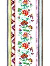 Handcrafted motifs - repeating floral stripe with embroidery Eastern european flowers, strips. Watercolor Royalty Free Stock Photo