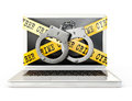 Handcuff cyber crime icon on a white background Stock Photography