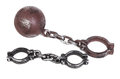 Handcuffs and ball and chain Stock Photography