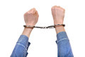 Handcuffs on hands closeup isolated the white background Stock Image