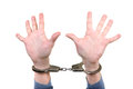Handcuffs on hands closeup with wide apart fingers isolated the white background Stock Images