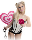 Handcuffs and Hearts Pinup Royalty Free Stock Image
