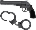 Handcuffs and pistol vector illustration Stock Photography