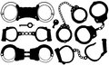 Handcuffs set of different isolated Stock Photo