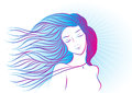 Handdrawing color portrait of a girl with hair сontour flying Stock Photos