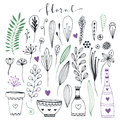 Handdrawn floral doodle collection. Cute decorative elements for design invitation and greeting cards. Vector set