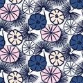 Handdrawn flower seamless vector pattern.