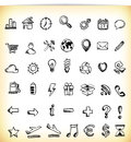 Handdrawn Icons Stock Photography