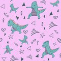 Handdrawn seamless pattern with dinosaur in yoga asana on pin background