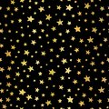 Handdrawn stars gold foil vector background. Seamless pattern for Christmas and celebrations. Hand drawn golden stars on black.