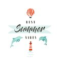 Handdrawn vector abstract summer time fun illustration logotype or sign with dolphins,hot air balloon,lighthouse and Royalty Free Stock Photo