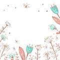 Handdrawn vector floral background. Simple doodle flowers. Paste