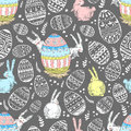 Handdrawn vector happy easter seamless pattern with big decorate
