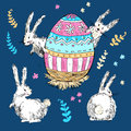 Handdrawn vector happy easter set with big decorated egg and cut