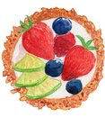 stock image of  Fruit Tart Watercolor Illustration