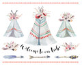 Handdrawn watercolor tribal teepee, isolated boho tent.