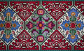 Handemade slavic carpet old traditional wool with ancient motif Royalty Free Stock Images