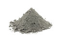 Handful of gray cement powder on white background Stock Images