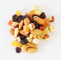 Handful of nuts, dried fruits and candied fruits Royalty Free Stock Photo