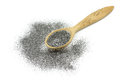 A handful of powder, graphite in a wooden spoon Royalty Free Stock Photo