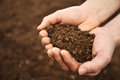 Handful of rich brown soil a farmer scooping up a Stock Photography