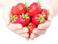 Handful of strawberries close-up Royalty Free Stock Images