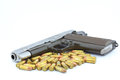 Handgun and bullets Royalty Free Stock Image