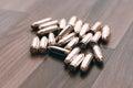 Handgun bullets. 9mm bullets