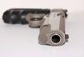 Handgun a closeup of the barrel of a Royalty Free Stock Photos