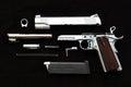 Handgun, seperate disassembled. Royalty Free Stock Photo