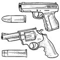 Handguns vector sketch Royalty Free Stock Images