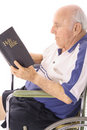 Handicap elderly man daily devotion Royalty Free Stock Photo