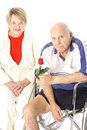 Handicap happy elderly couple Royalty Free Stock Images
