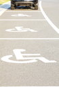 Handicap parking areas several reserved for disabled people Royalty Free Stock Photography