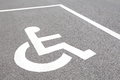 Handicap parking close up spots Royalty Free Stock Photos
