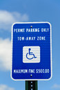 Handicap parking sign a only Stock Photos