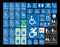 Handicap signs vector pack of different accessibility sings Royalty Free Stock Images