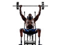 Handicapped body builders building weights man with legs prosthe one muscular prosthesis in silhouette on white background Royalty Free Stock Image