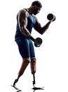 Handicapped body builders building weights man with legs prosthe one muscular prosthesis in silhouette on white background Stock Photography