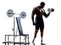 Handicapped body builders building weights man with legs prosthe one muscular prosthesis in silhouettes on white background Stock Photos