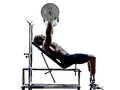 Handicapped body builders building weights man with legs prosthe one muscular prosthesis in silhouettes on white background Royalty Free Stock Image
