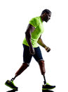 Handicapped man joggers runners running with legs prosthesis sil one muscular in silhouette on white background Royalty Free Stock Photo