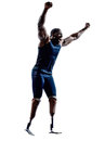 Handicapped man runners sprinters with legs prosthesis silhouett one muscular in silhouette on white background Stock Photography