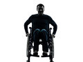 Handicapped man in wheelchair smiling friendly silhouette one studio on white background Stock Image