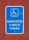 Handicapped 15 Minute Parking Sign Royalty Free Stock Photo