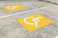 Handicapped parking symbol on floor Royalty Free Stock Photo